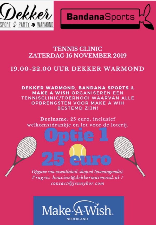 Tennisclinic 16 november 2019 - optie 1