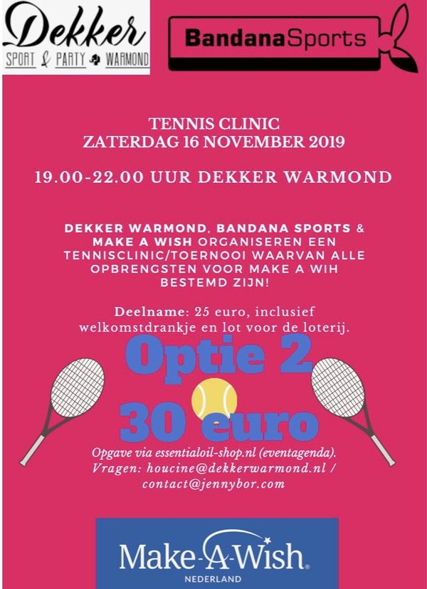Tennisclinic 16 november 2019 - optie 2