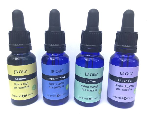 Combiset essentiële oliën JB Oils® - Lemon - Pepermunt - Tea Tree - Lavendel 20 ml